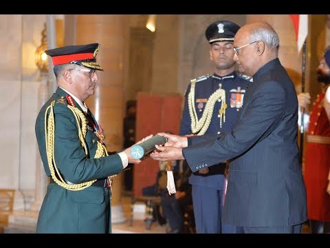 President Kovind confers the Honorary Rank of General of the Indian Army on General Thapa