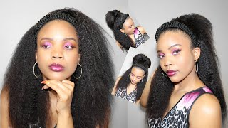 The most natural 4c hair blowout HEADBAND wig ever| Unice Amazon Wig Review|Afro kinky straight hair