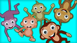 Five Little Monkeys | Kids Songs and Nursery Rhymes by HooplaKidz