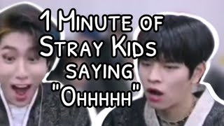 """1 Minute and 28 Seconds of Stray Kids saying """"oh"""" during the React Video"""