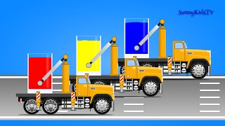 Trucks for kids. Learn colors. Mix Colors. Video for children, kids, toddlers.