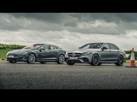 Tesla Model S P100D vs Merc-AMG E63 S | Drag Races | Top Gear
