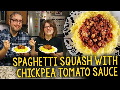 Recipe: Spaghetti Squash with Chickpea Tomato Sauce (Oil-Free Vegan)
