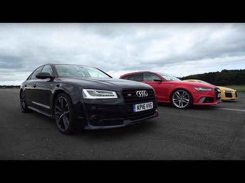 Audi Drag Race! R8 V10 Plus Vs RS6 Vs S8 | Top Gear