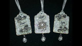 DIY~Make Beautiful And Sparkly Tiny Tag Ornament Sentiments!