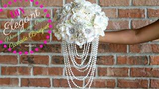DIY Elegant Brooch And Pearl Cascade Bridal Bouquet   DIY Wedding Bouquet   DIY Tutorial