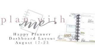 PLAN WITH ME HAPPY PLANNER DASHBOARD LAYOUT WELLNESS PLANNER! - August 17-23