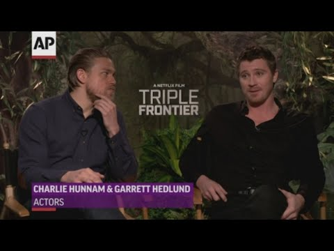 """Stars of new thriller """"Triple Frontier"""" Charlie Hunnam and Garrett Hedlund discuss their long friendship and how real-life chemistry doesn't always reflect on screen. (March 11)"""
