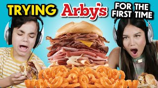 Teens Try Arby's for the First Time (Meat Mountain, Classic Roast Beef, Sliders, Shakes)