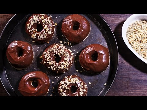 Baked Doughnuts with Nutella Glaze