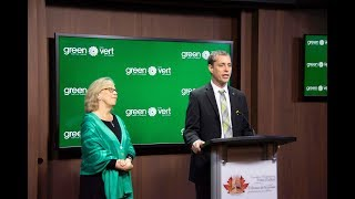 Elizabeth May And Newly Elected Green Mp Paul Manly Hold A Press Conference On Parliament Hill
