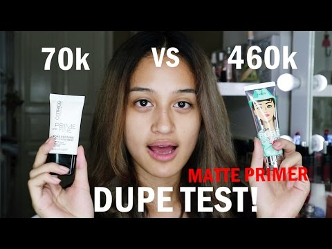 DUPE TEST!  Benefit Matte Rescue vs Catrice Anti Shine Base | Nadya Aqilla