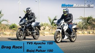 TVS Apache 180 vs Pulsar 180 - Drag Race | MotorBeam