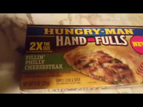 Hungry man Philly cheese steak review. frozen food review.