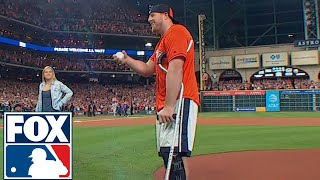 Download Youtube: JJ Watt throws out first pitch ahead of Game 3 of the World Series | 2017 MLB Playoffs | FOX MLB