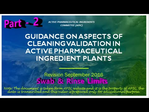 APIC Guideline on Cleaning Validation in Pharmaceutical Companies Part 2
