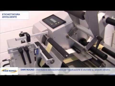 Semi automatischer Etikettenapplikator für zylinderförmige Produkte und Rundum- Etiketten sowie Vorder und Rückenetiketten