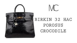 80d2d2bede8 MIGHTYCHIC • HERMÈS Birkin 32 Hac Bag Black Porosus Crocodile Lisse Gold  Hardware