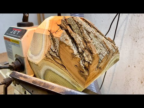Woodturning Black Locust and Bloodwood Logs