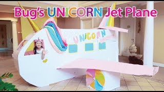 Bug's UNICORN Barbie Airplane Boxfort / Airport Pretend Play