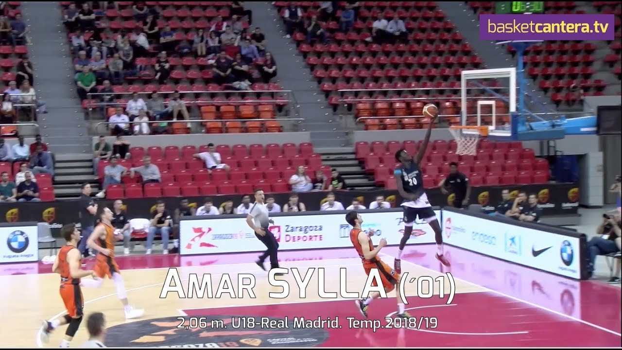 AMAR SYLLA (´01) - 2,06 m. U18-Real Madrid. Temp. 2018/19 (BasketCantera.TV)