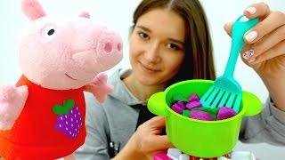 Детское видео - Свинка Пеппа готовит борщ из овощей