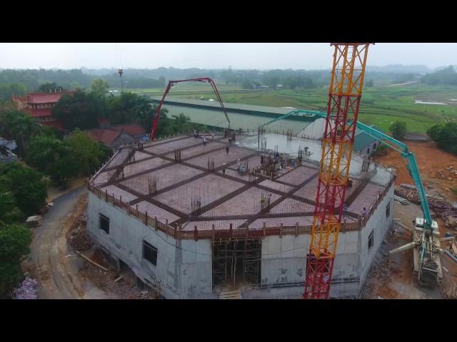 Flycam Đổ Bê Tông Sàn Tầng 2 Đại Tượng Phật A Mi Đà tại Chùa Khai Nguyên