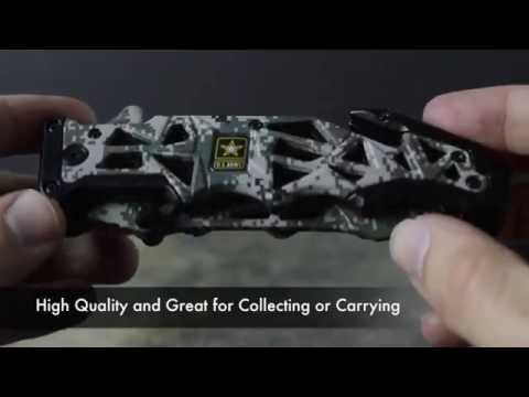 US ARMY Licensed Folding Spring Assist Tactical Digi Camo Knife Review Unboxing A-A1005DG