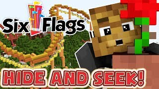 THE BEST HIDING PLACES AT A THEME PARK! Six Flags Edition!   Minecraft Hide N' Seek Mod | JeromeASF