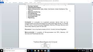 Computer Organization and Architecture Lecture1
