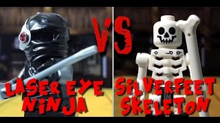 Laser eye ninja vs silverfeet skeleton - lego fight club - stopmotion lego