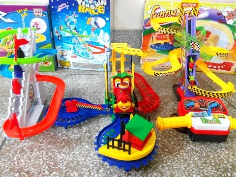 3 beautiful kids toys FUNNY TRAIN, PENGUIN RACE, NUTTINESS MOTORCYCLE