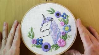 Unicorn Embroidery Pattern, Video 10 (Final) - Stem And Straight Stitch Branches