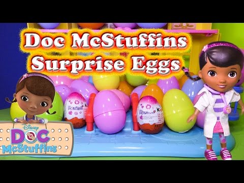 Opening DOC MCSTUFFINS  Surprise Eggs  with the Assistant