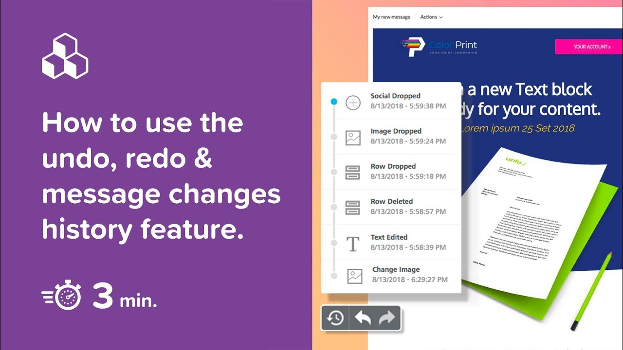 How to use the undo, redo & message changes history feature in the BEE email editor.
