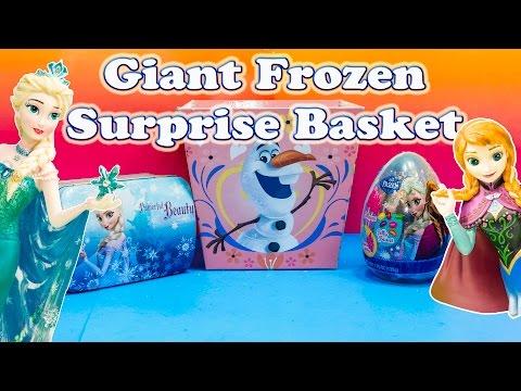 FROZEN Disney Giant Surprise Eggs & Surprise Baskets and Frozen Lunch Box Toys Video