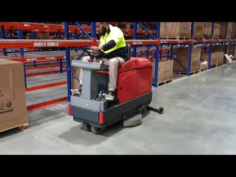 Warehouse cleaning Ride On Hako Scrubber