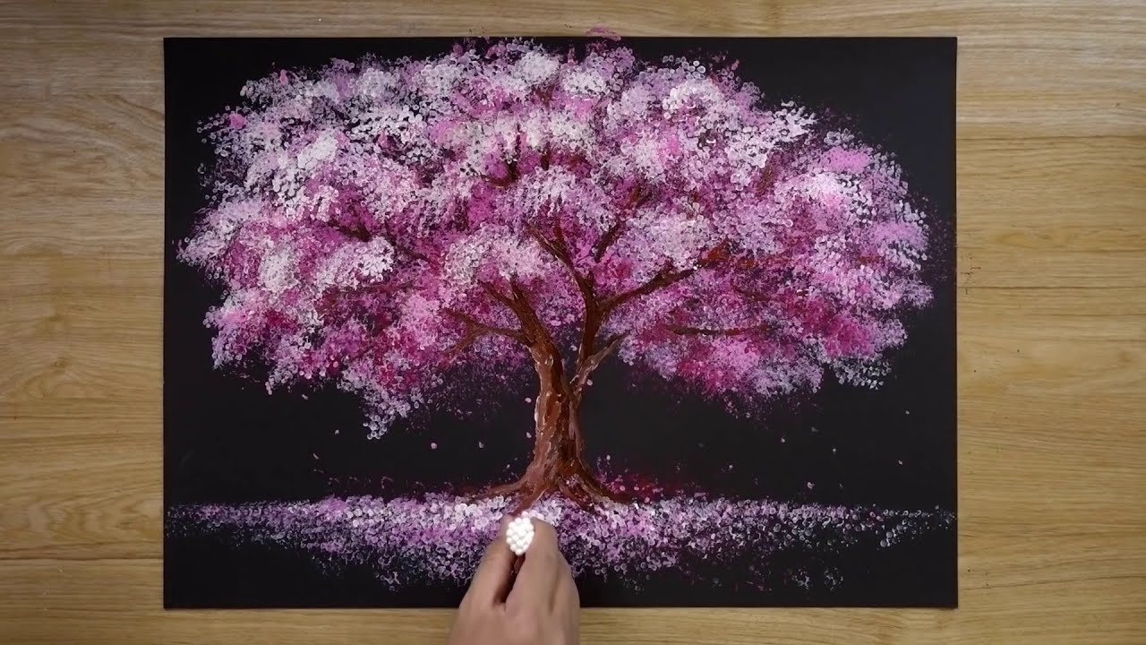 painting techniques using bath sponge and cotton buds by jay lee