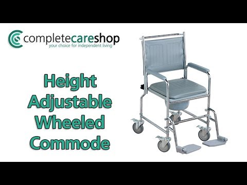 Height Adjustable Wheeled Commode Assembly