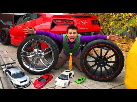 Mr. Joe tied Wheels on Opel Vectra OPC VS Toy Cars VS Red Man on Camaro without Wheels for Kids