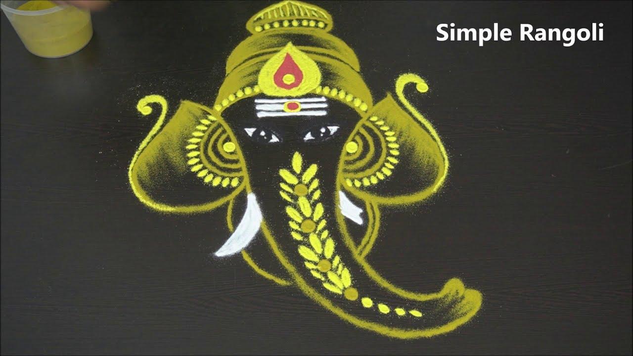 golden ganesh kolam freehand vinayaka muggulu by simple rangoli