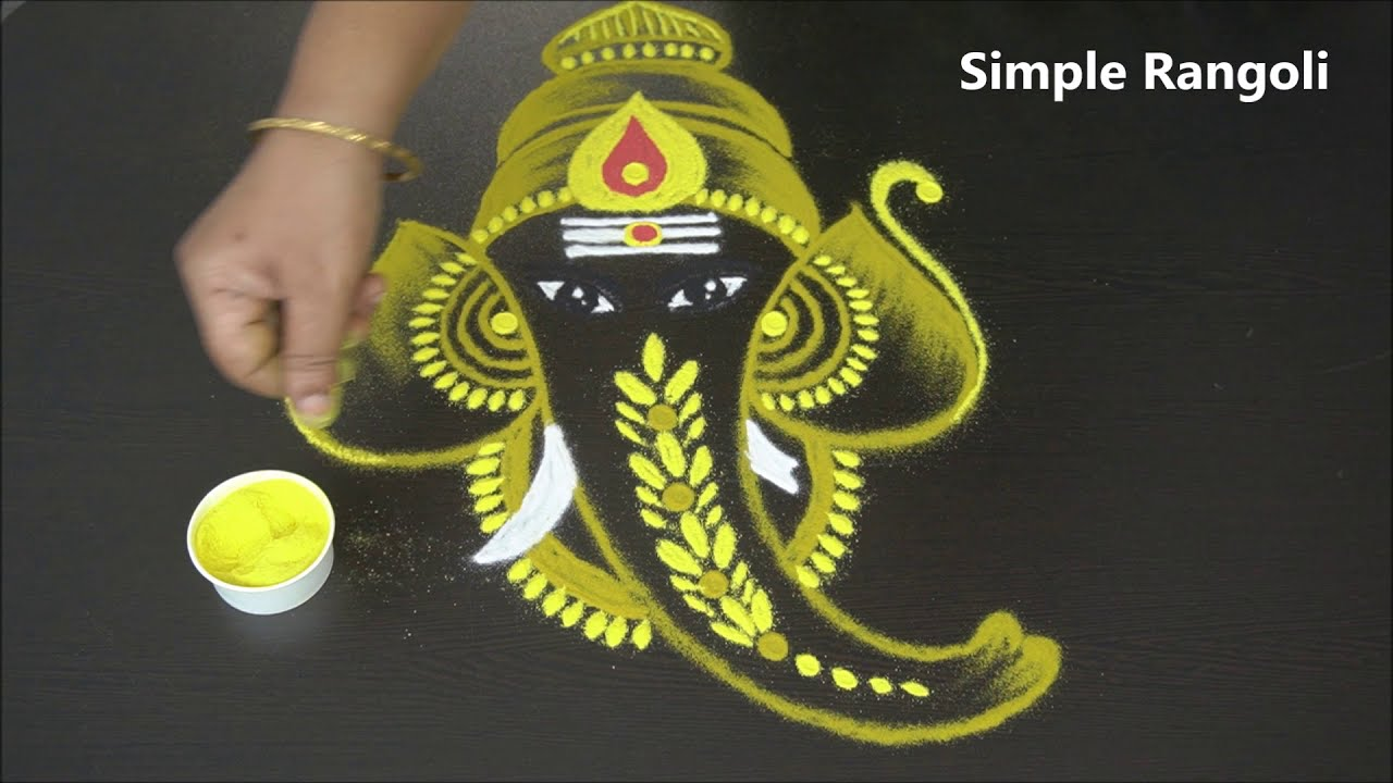 golden ganesh kolam freehand vinayaka muggulu by simple rangoli
