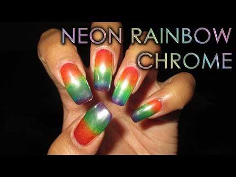 Neon Rainbow Chrome   DIY Nail Art Tutorial