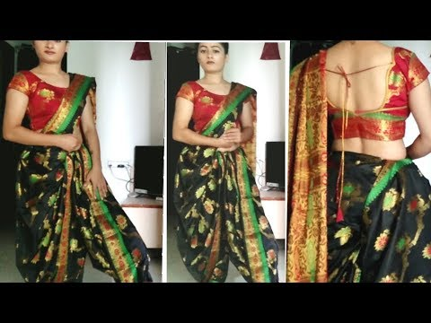 Sari draping dhoti style.    dhote sari drape.   how to wear a dhoti sari.