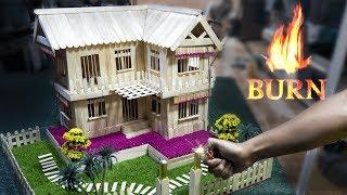 building-burning-mini-house-model-popsicle-stick