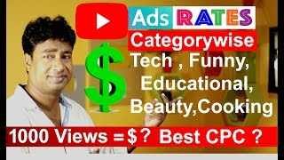 Indian Youtube Channels Earning Rates per 1000 Views Categorywise in 2019