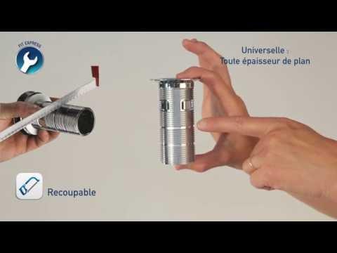 Bonde universelle lavabo digiclic, clapet inox, h100 mm,  intercalaire chromé