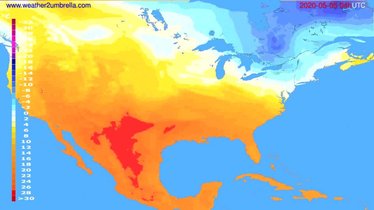 Temperature forecast USA & Canada // modelrun: 12h UTC 2020-05-04