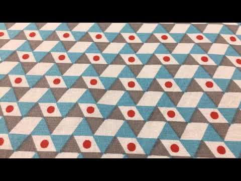 Baumwollstoff Stoff Meterware Dreiecke weiß grau türkis rot