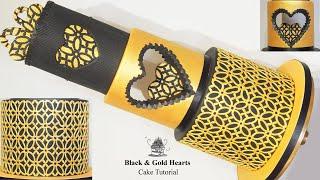 Golden Hearts Wedding Cake Tutorial Using NEW Marvelous Molds
